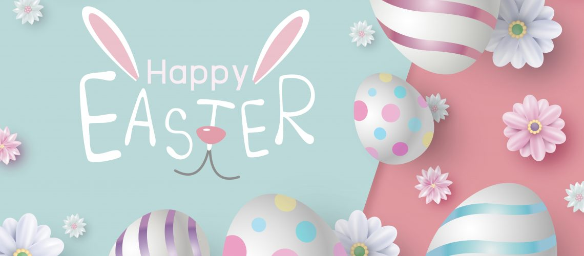 Easter card design of eggs and flowers on color paper vector illustration
